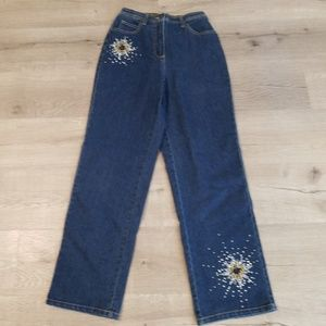 Quacker Factory XS rhinestone embellished jeans